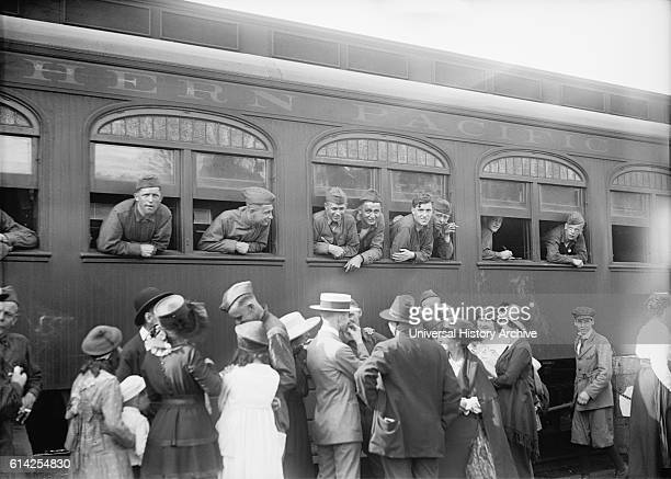 US Army Soldiers on Train Returning Home from War Washington DC USA circa 1919