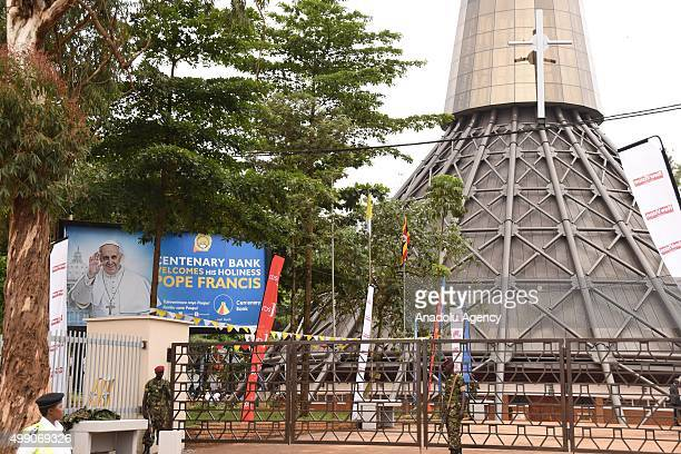 Army soldiers patrol around before Pope Francis holding a Mass for the martyrs of Uganda near the Catholic shrine of Namugongo in Kampala Uganda on...