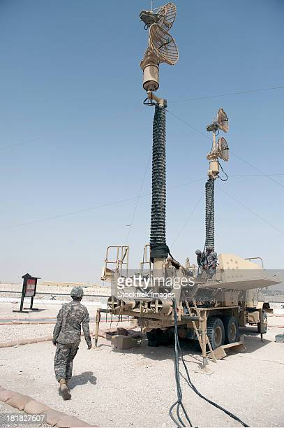 U.S. Army soldiers prepare to move a Patriot Air Defense Missile System.