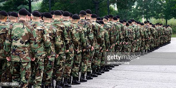 Army soldiers standing in a straight line
