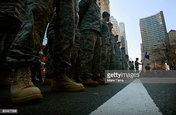 S Army soldiers wait to march before the 248th annual St Patrick's Day parade March 17 2009 in New York City The parade honors the patron saint of...