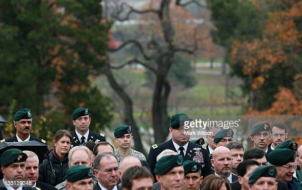 S Army Special Forces past and present attend a wreathlaying ceremony at President John F Kennedy's gravesite at Arlington Cemetery on November 17...