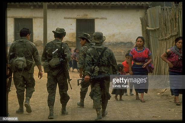 Army special forces patrolling streets in response to increase in rightwing guerrilla violence against peasants Indians in area