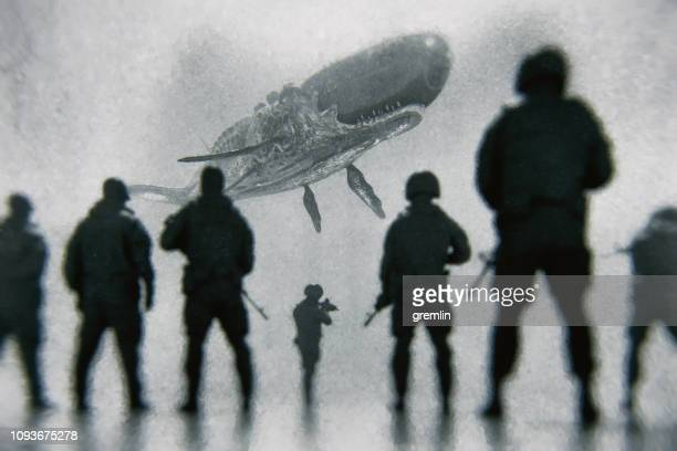 army squad against flying alien cyborg whale - technology trade war stock pictures, royalty-free photos & images