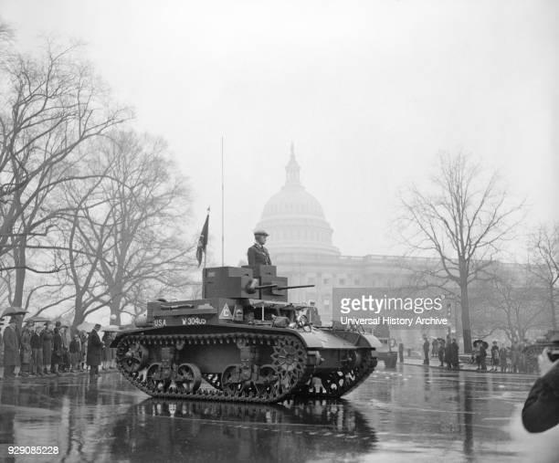 Army Tank and U.S. Capitol Building, Army Day Parade, Washington DC, USA, Harris & Ewing, April 1939.