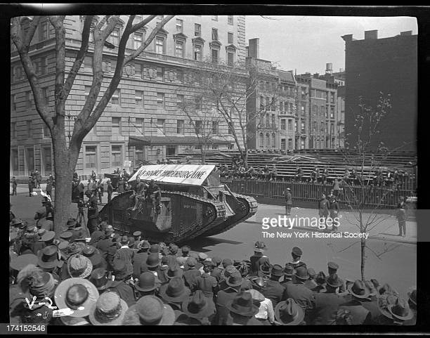 Army tank World War I victory parade Fifth Avenue near 80th Street New York New York late 1910s