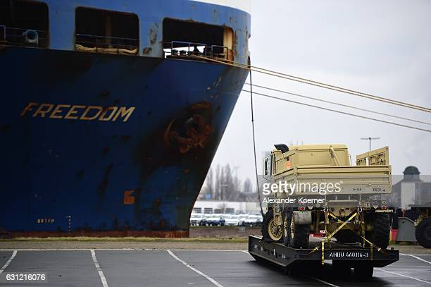 Army transport vehicles stands in line prior being loaded onto trains after being unloaded from ships two days before on January 8 2017 in...