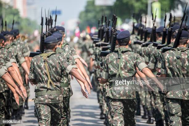 army troops marching and parading - army stock pictures, royalty-free photos & images