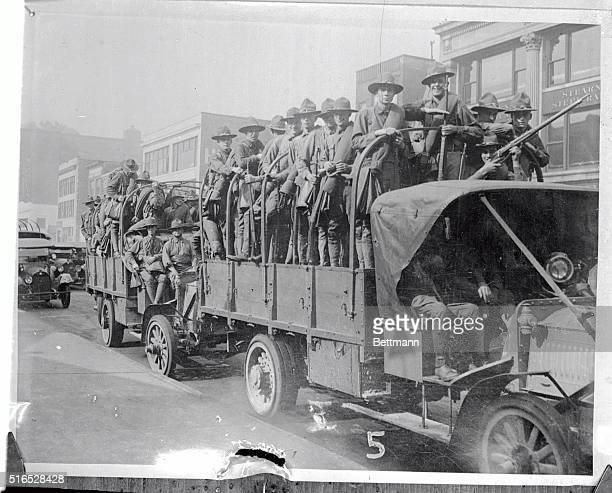 Army truck load of troops being rushed to the South Side of Chicago to quell a riot