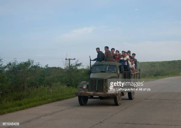 Army truck overloaed with North Korean people North Hamgyong Province Chilbo Sea North Korea on September 12 2011 in Chilbo Sea North Korea