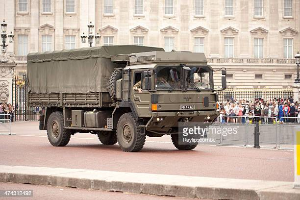 Army truck patrolling just outside Buckingham Palace