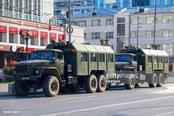 Army trucks in Yekaterinburg