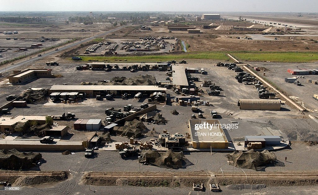 US Army vehicles equipment and tents are seen in this aerial view 15 July & US Army vehicles equipment and tents ar Pictures | Getty Images