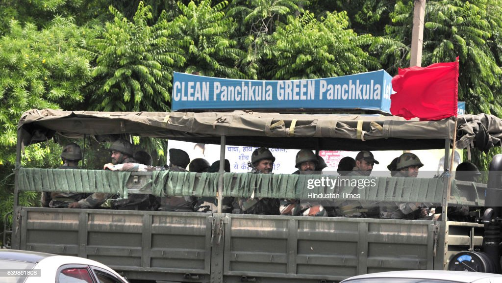 Army vehicles roaming in Panchkula due to high alert on August 27 2017 in Chandigarh India Violent clashes across Punjab and Haryana have followed...