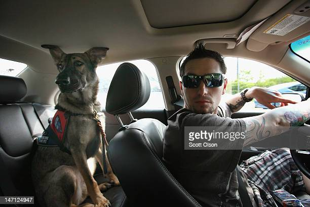 Army veteran Brad Schwarz drives his service dog Panzer to be seen for a check up at a veterinary clinic May 3 2012 in Palos Hills Illinois Schwarz...