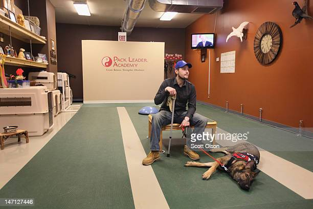 Army veteran Brad Schwarz waits to start a training session with his service dog Panzer at the Pack Leader Academy February 21 2012 in Palos Hills...