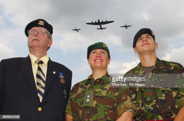 Army veteran Bruce Bishop 77 Lt Col Lesley Wilde of the Adjutant General's Corps and RSM Lee Swallow 18 of the Kent Army Cadet Force watch as a...