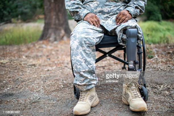 army veteran in wheelchair - post traumatic stress disorder stock pictures, royalty-free photos & images