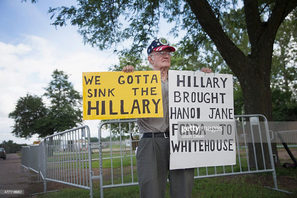 Army veteran John Strong demonstrates outside the Elwell Family food Center at the Iowa State Fairgrounds where former Secretary of State Hillary Clinton was expected for a campaign event on June 14, 2015 in Des Moines, Iowa. Clinton officially kicked off her 2016 bid for the White House yesterday during an event on New Yorks Roosevelt Island.