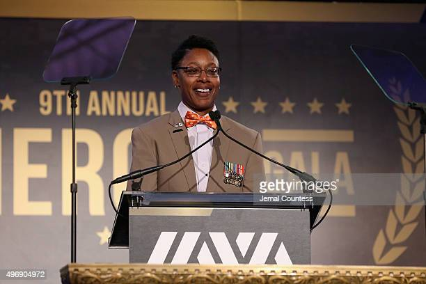 Army Veteran Tracey CooperHarris speaks onstage at the 9th Annual IAVA Heroes Gala at the Cipriani 42nd Street on November 12 2015 in New York City