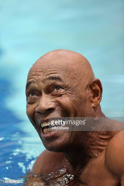 S Army veteran Willie Leffall looks at his time after completing his 25 meters freestyle heat in the swimming competition of the National Golden Age...