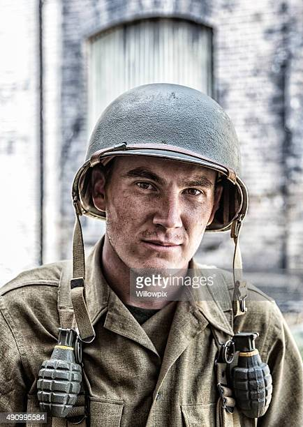 US Army World War II Infantry Combat Soldier Close-Up