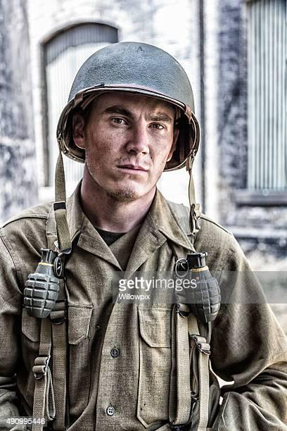 Armée américaine de la Seconde Guerre mondiale de Combat armée soldat Portrait