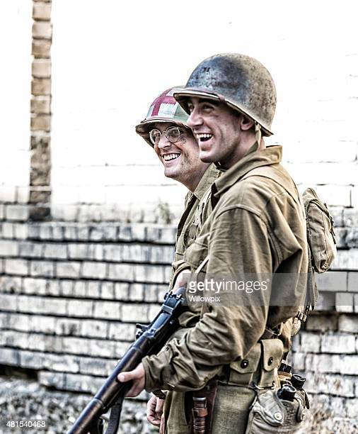 US Army World War II Medic and Soldier Laughing
