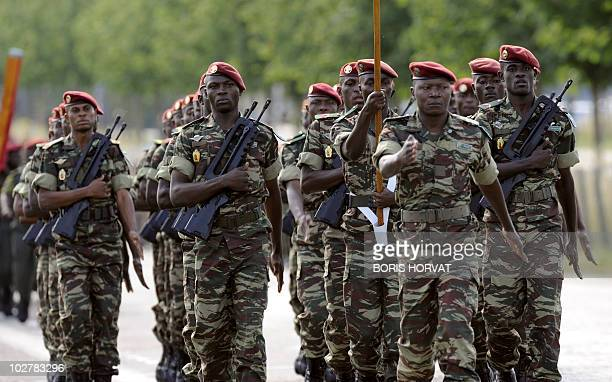 Armymen from Cameroon parade in Satory near Paris on July 10 during the rehearsal of the French national celebration the Bastille Day which will take...