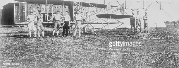 Army's first plane after it has been equipped with wheels. Cost $30 and was first successful airplane in world. Wright type B-45. Wright engine....