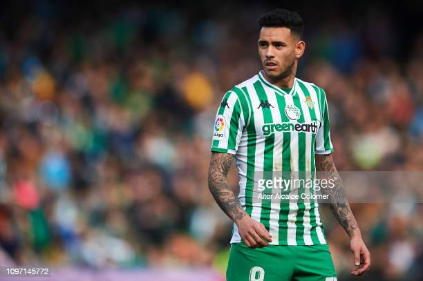 Arnaldo Antonio Sanabria of Real Betis Balompie looks on during the La Liga match between Real Betis Balompie and Girona FC at Estadio Benito...