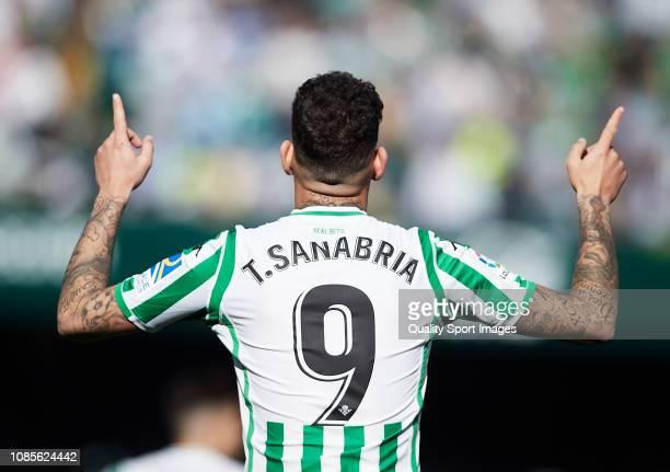 Arnaldo Antonio Sanabria of Real Betis celebrates scoring his team's opening goal during the La Liga match between Real Betis Balompie and SD Eibar...