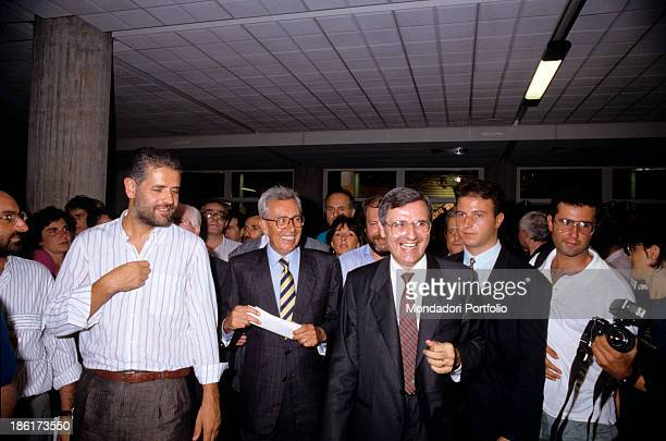 Arnaldo Forlani among journalists and other politicians of the Christian Democracy photographed after his election as National Secretary of the party...