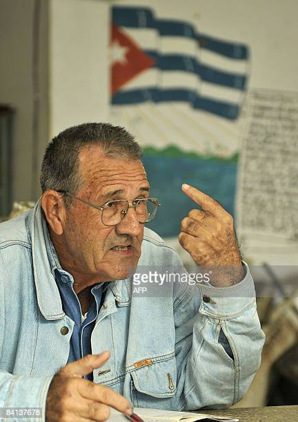 SPANISH Arnaldo Gascon members of the Cuban Revolution Combatants Association is seen chatting with other former combatants during a meeting in the...