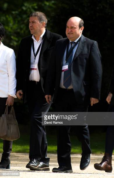Arnaldo Otegi Leader of the political party EH Bildu and Andoni Ortuzar President of the Basque Nationalist Party arrive at the international event...
