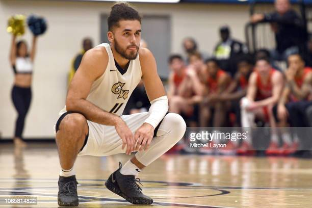 Arnaldo Toro of the George Washington Colonials looks on during a college basketball game against the Stony Brook Seawolves at the Smith Center on...