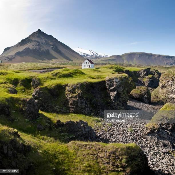 Arnarstapi, Snaefellsjokull Glacier in background, Snaefellsnes Peninsula, Iceland