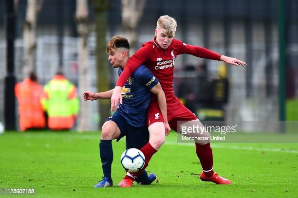 Arnau Puigmal of Manchester United U18s in action during the U18 Premier League Cup Quarter Final at Kirkby Training Ground January 26 2019 in Kirkby...