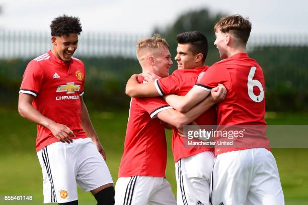 Arnau Puigmal of Manchester United U18s in action during the U18 Premier League North match between Manchester United and Newcastle United at the Aon...