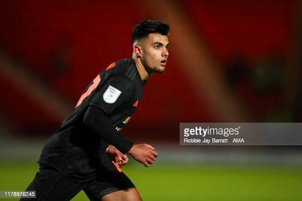 Arnau Puigmal of Manchester United U21 during the Leasingcom Trophy match fixture between Doncaster Rovers and Manchester United U21's at Keepmoat...
