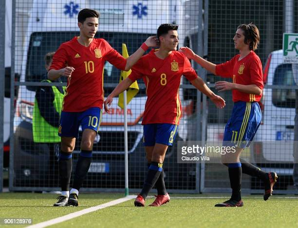 Arnau Puigmal of Spain celebrates after scoring the opening goal during the U17 International Friendly match between Italy and Spain at Juventus...