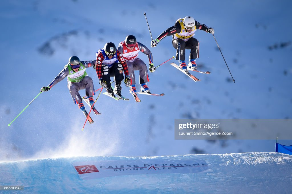 Arnaud Bovolenta of France takes 2nd place, Francois Place of France competes, Jean Frederic Chapuis of France competes, Kevin Drury of Canada competes during the FIS Freestyle Ski World Cup, Men's and Women's Ski Cross on December 7, 2017 in Val Thorens, France.
