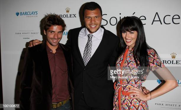Arnaud Clement and JoWilfried Tsonga and Nolwenn Leroy attend ''the Jo Wilfried Tsonga 'Ace de Coeur' Charity Cocktail'' at Hotel Park Hyatt on May...