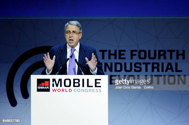 Arnaud de Puyfontaine, CEO of Vivendi giving a conference during the Mobile World Congress, on February 28, 2017 in Barcelona, Spain.
