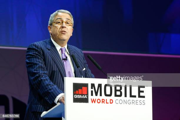 Arnaud de Puyfontaine, chief executive officer of Vivendi SA, speaks during the second day of Mobile World Congress in Barcelona, Spain, on Tuesday,...