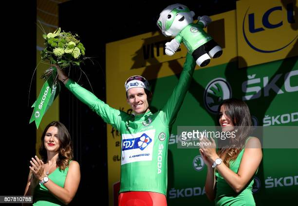 Arnaud Demare of France and and team FDJ in the green jersey after stage four of Le Tour de France 2017 on July 4 2017 in Vittel France