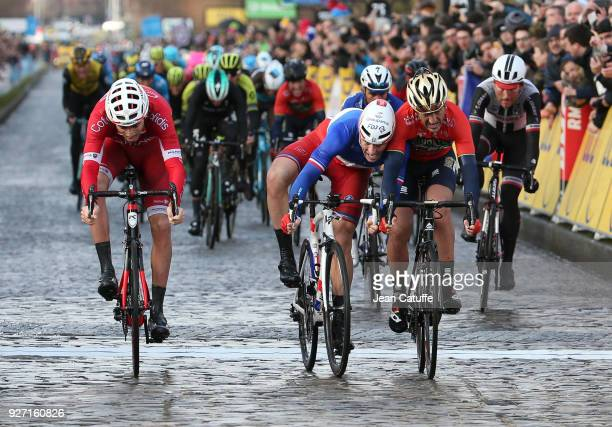 Arnaud Demare of France and FDJ wins in front of Gorka Izagirre of Spain and Team Bahrein Merida and Christophe Laporte of France and Cofidis stage 1...