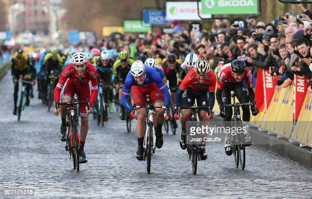 Arnaud Demare of France and FDJ wins in front of second Gorka Izagirre of Spain and Team Bahrein Merida 3rd Christophe Laporte of France and Cofidis...