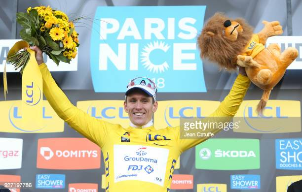 Arnaud Demare of France and FDJ wins stage 1 and wears the first leader's yellow jersey of the 76th ParisNice 2018 following stage 1 between Chatou...