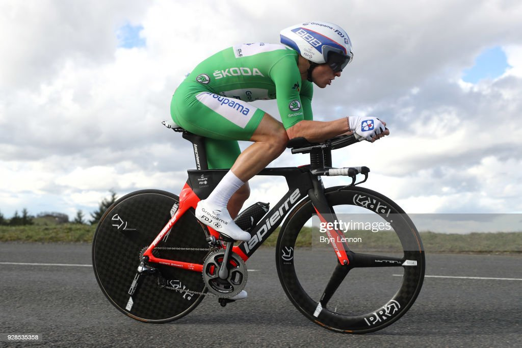 Arnaud Demare of France and Groupama-FDJ Green Points Jersey rider during the 76th Paris - Nice 2018 / Stage 4 an Individual Time Trial of 18,4km from La Fouillouse to Saint-Etienne on March 7, 2018 in Saint-Etienne, France.